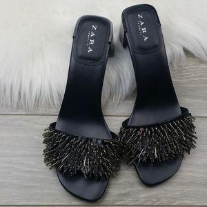 Zara Trafaluc Silver Beaded Fringed Slip On Heels